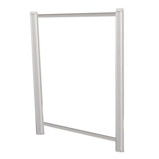 OfficeSource SafeGuard Barrier Collection Borders Extended Screen with Clear Glass and Transaction Space – 36″W – (2 – 36″H Posts Included)