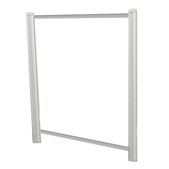 OfficeSource SafeGuard Barrier Collection Borders Extended Screen with Clear Glass and Transaction Space – 42″W – (2 – 36″H Posts Included)