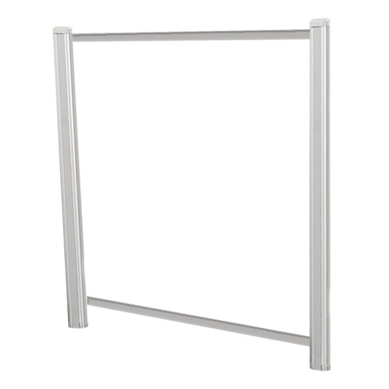 OfficeSource SafeGuard Barrier Collection Borders Extended Screen with Clear Glass and Transaction Space – 48″W – (2 – 36″H Posts Included)