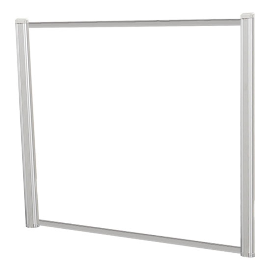 OfficeSource SafeGuard Barrier Collection Borders Extended Screen with Clear Glass and No Transaction Space – 60″W – (2 – 36″H Posts Included)
