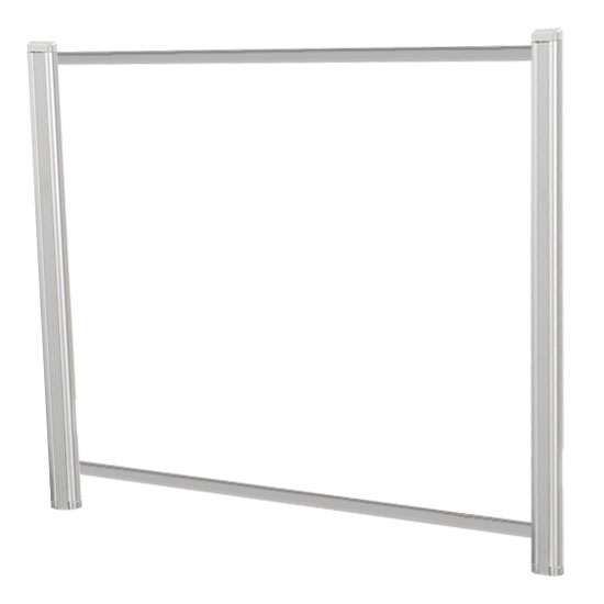 OfficeSource SafeGuard Barrier Collection Borders Extended Screen with Clear Glass and Transaction Space – 60″W – (2 – 36″H Posts Included)