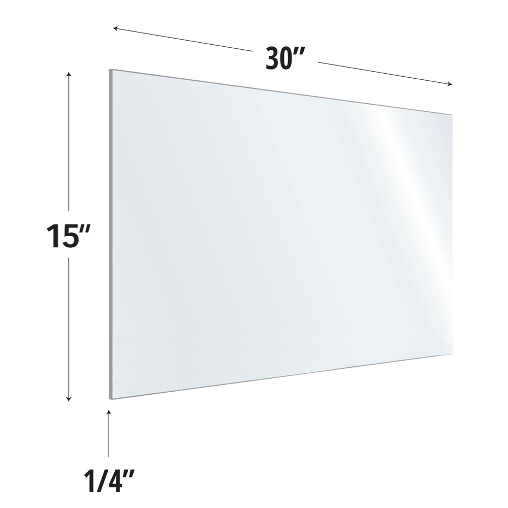 Clear Acrylic Screen with Rounded Edges – 30″W x 15″H