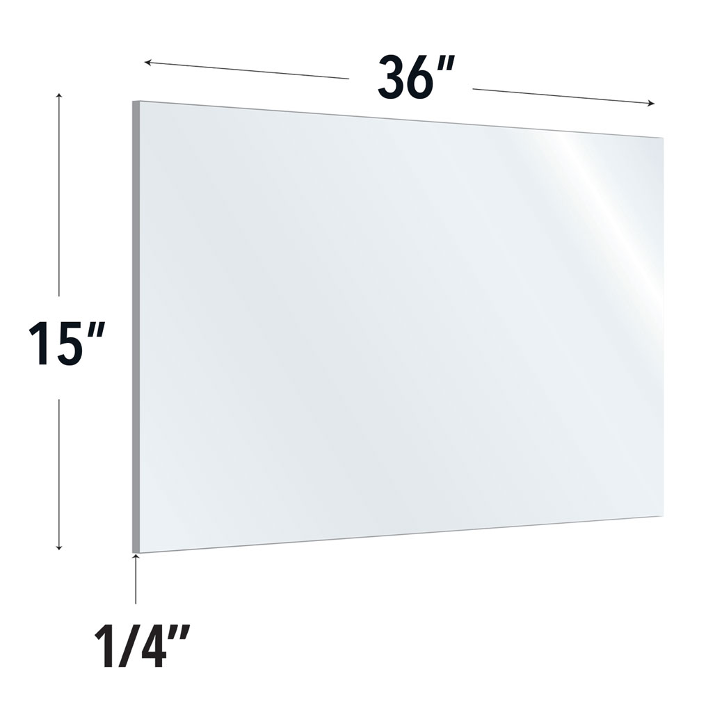 Clear Acrylic Screen with Rounded Edges – 36″W x 15″H