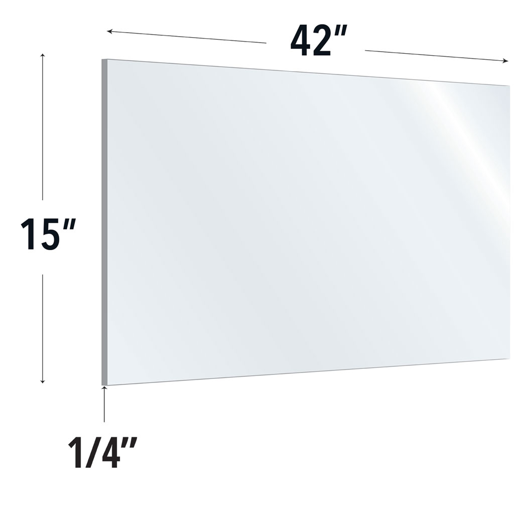 Clear Acrylic Screen with Rounded Edges – 42″W x 15″H