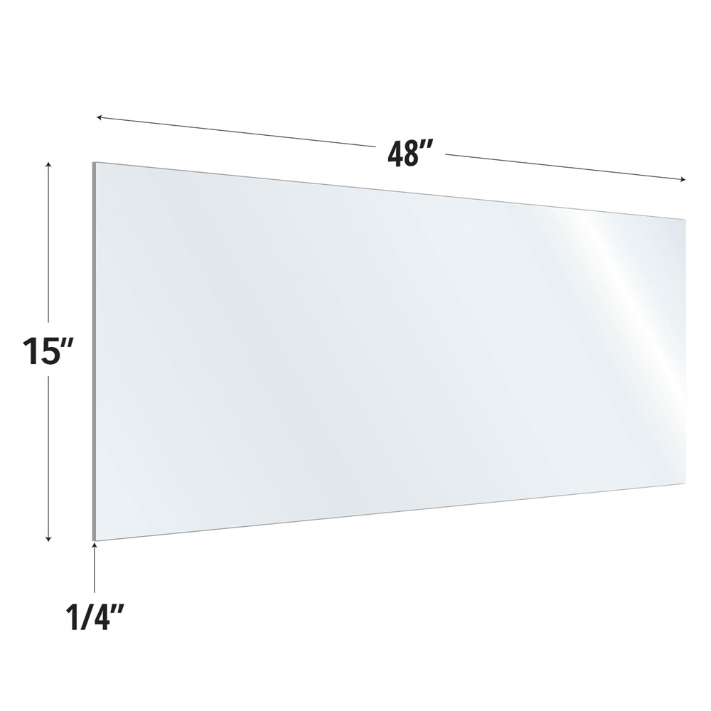 Clear Acrylic Screen with Rounded Edges – 48″W x 15″H