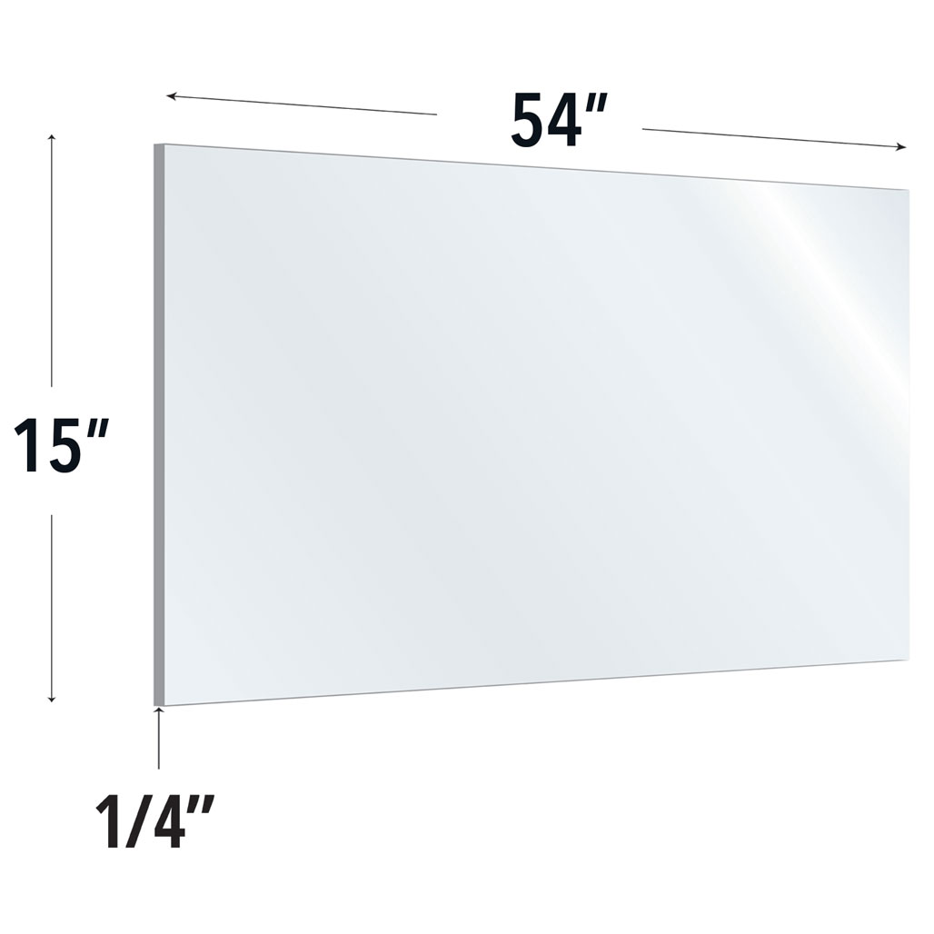 Clear Acrylic Screen with Rounded Edges – 54″W x 15″H