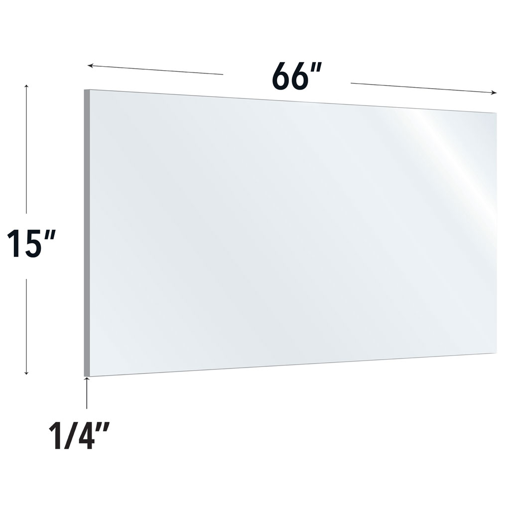 OfficeSource SafeGuard Barrier Collection Clear Acrylic Screen with Rounded Edges – 60″W x 15″H
