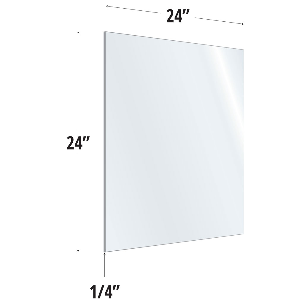OfficeSource SafeGuard Barrier Collection Clear Acrylic Screen with Square Edges – 24″W x 24″H