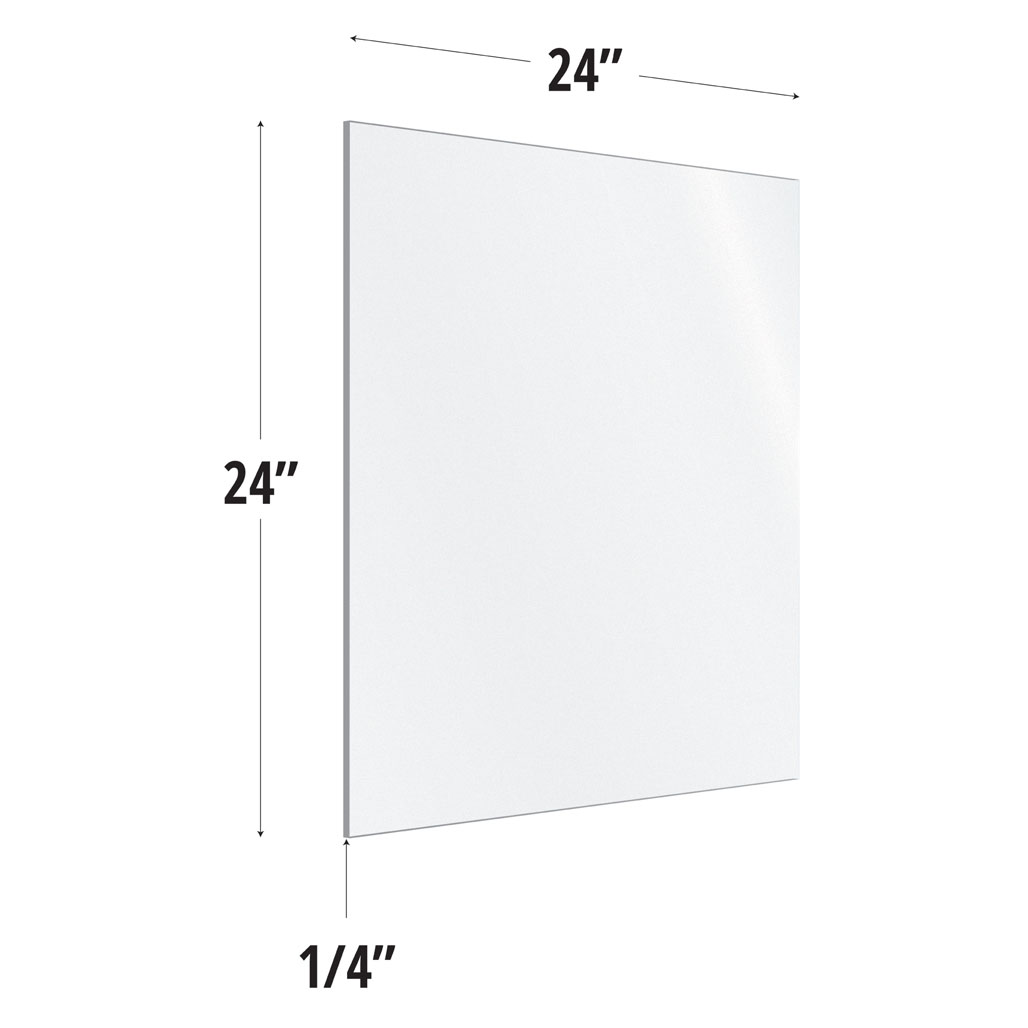 Frosted Acrylic Screen with Square Edges – 24″W x 24″H