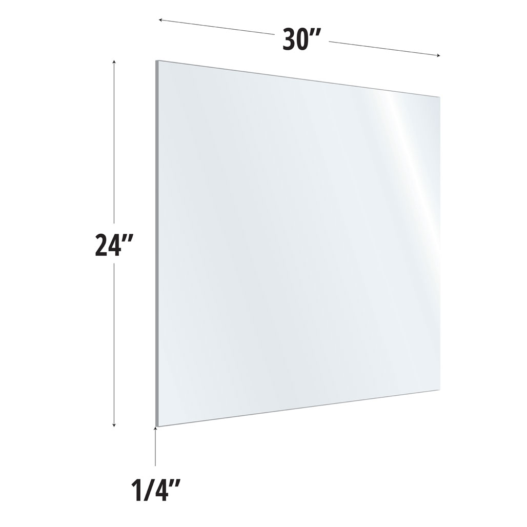 Clear Acrylic Screen with Square Edges – 30″W x 24″H