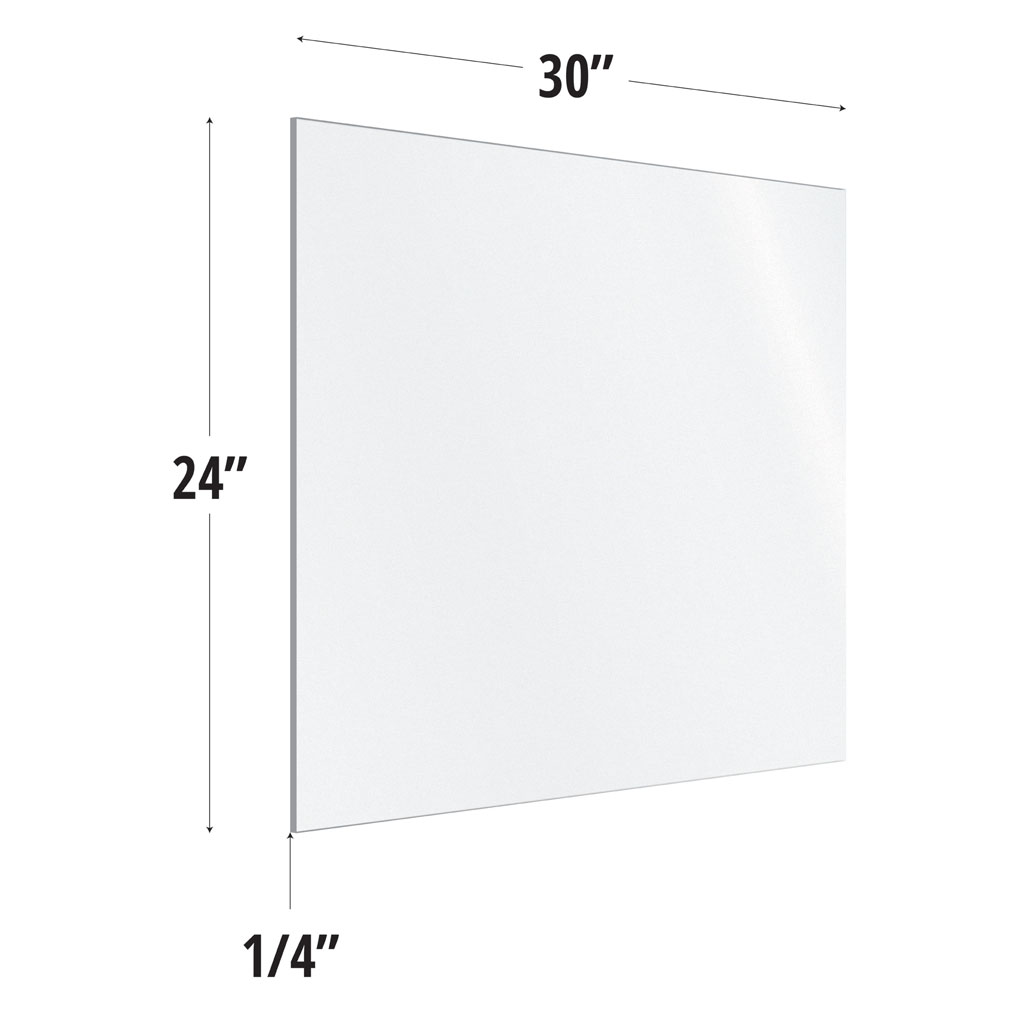OfficeSource SafeGuard Barrier Collection Frosted Acrylic Screen with Square Edges – 30″W x 24″H