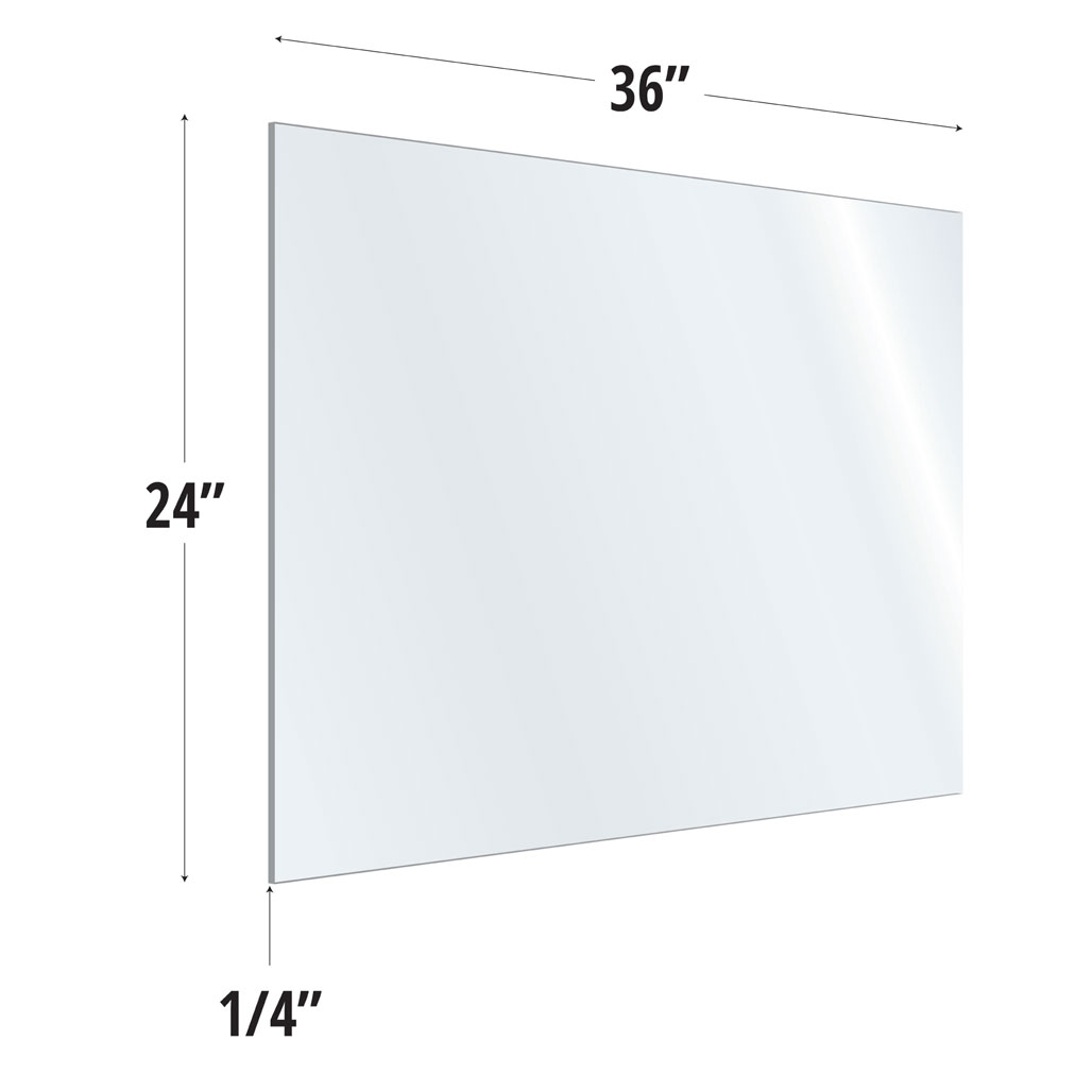 OfficeSource SafeGuard Barrier Collection Clear Acrylic Screen with Square Edges – 36″W x 24″H