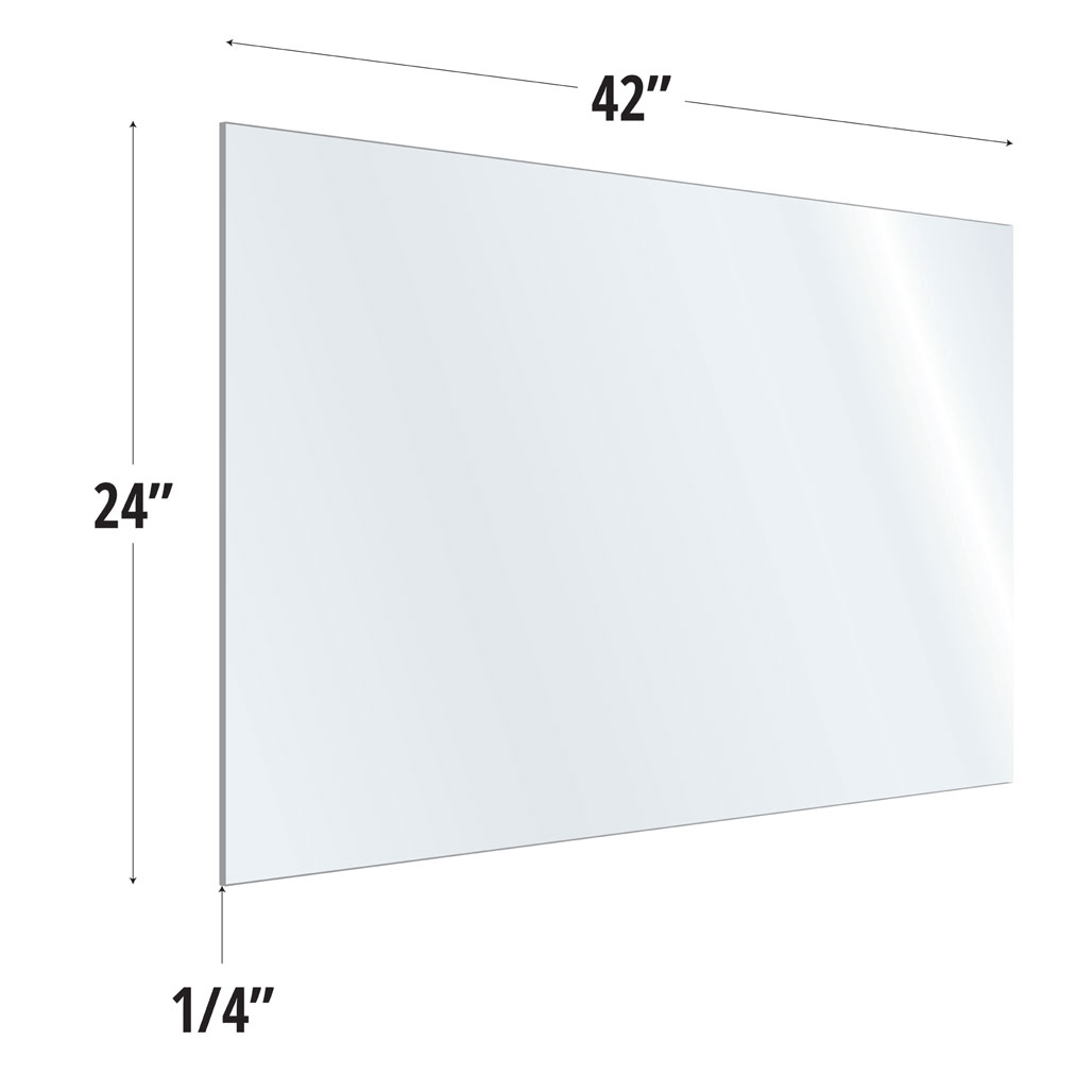 OfficeSource SafeGuard Barrier Collection Clear Acrylic Screen with Square Edges – 42″W x 24″H