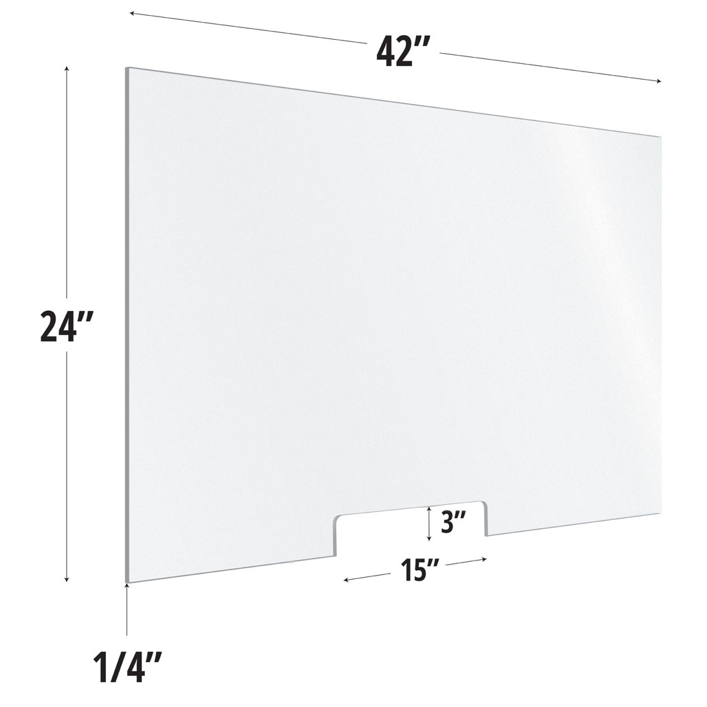 Clear Acrylic Screen with Transaction Cutout – 42″W x 24″H