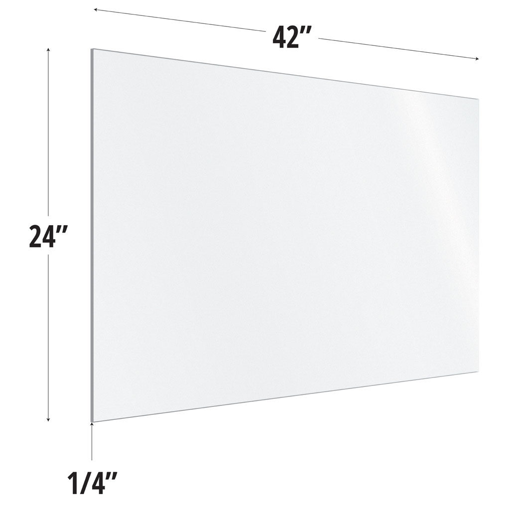 Frosted Acrylic Screen with Square Edges – 42″W x 24″H
