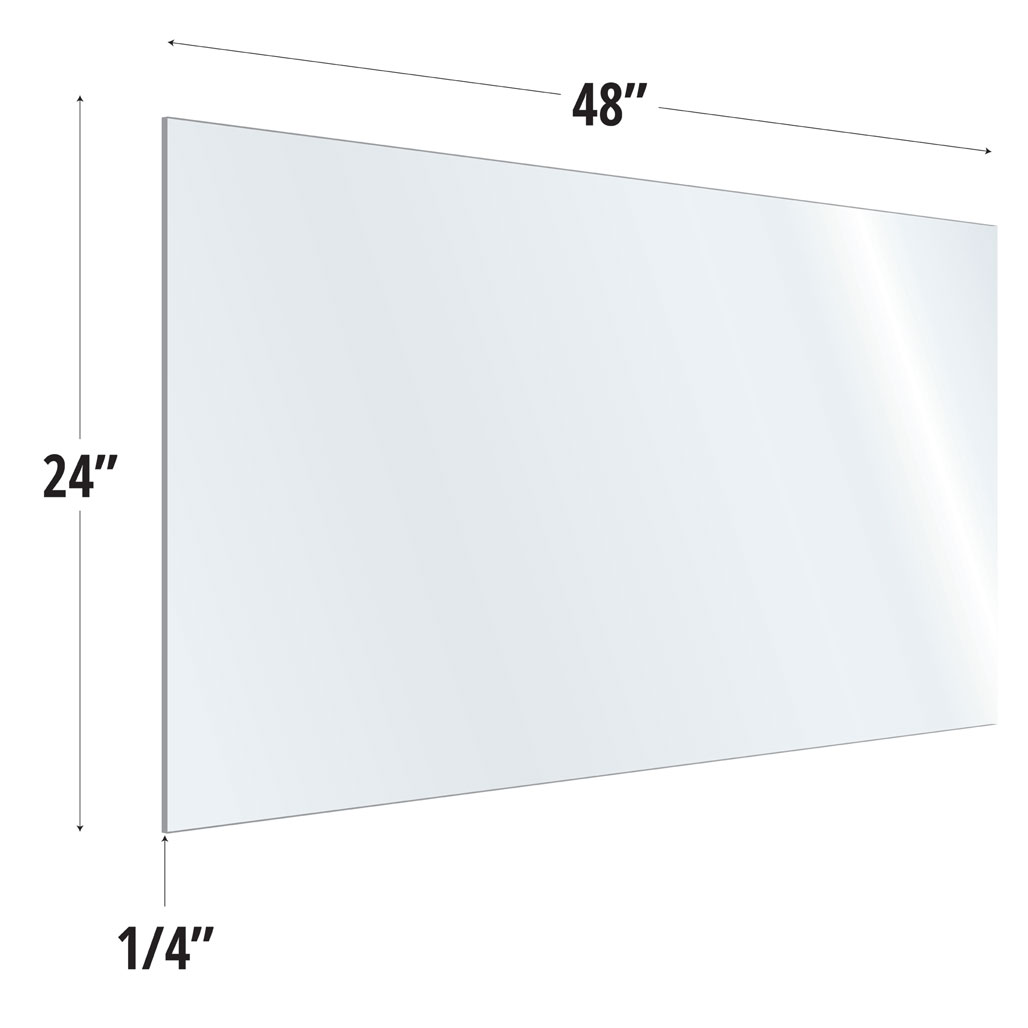 Clear Acrylic Screen with Square Edges – 48″W x 24″H