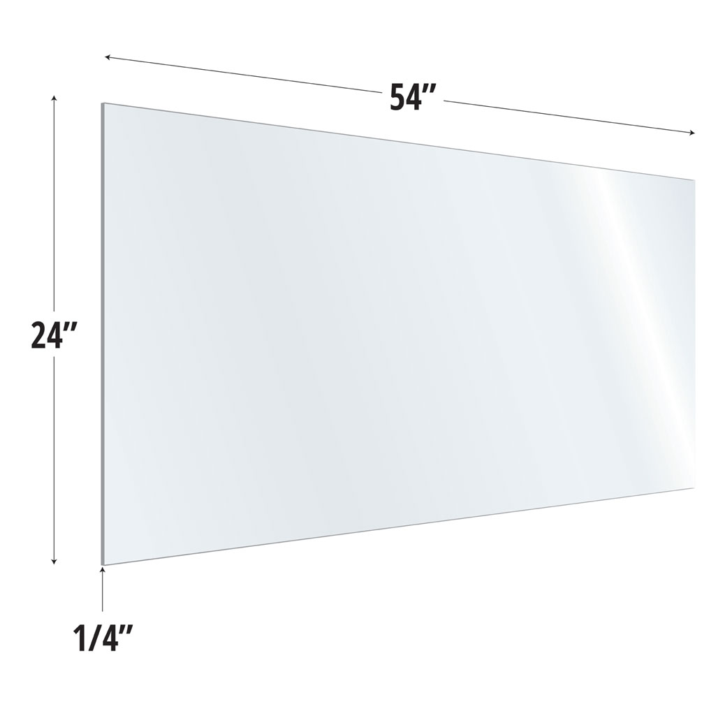 Clear Acrylic Screen with Square Edges – 54″W x 24″H