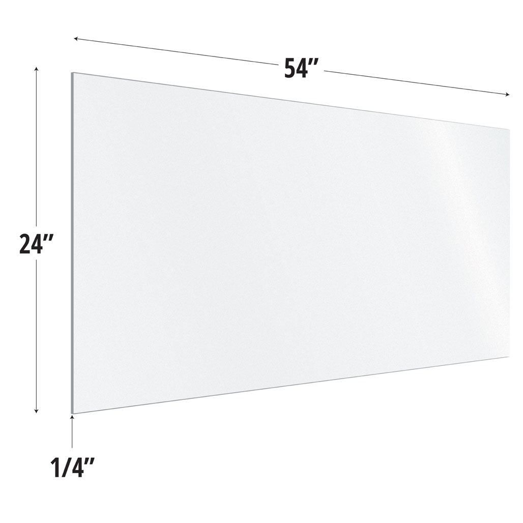 Frosted Acrylic Screen with Square Edges – 54″W x 24″H