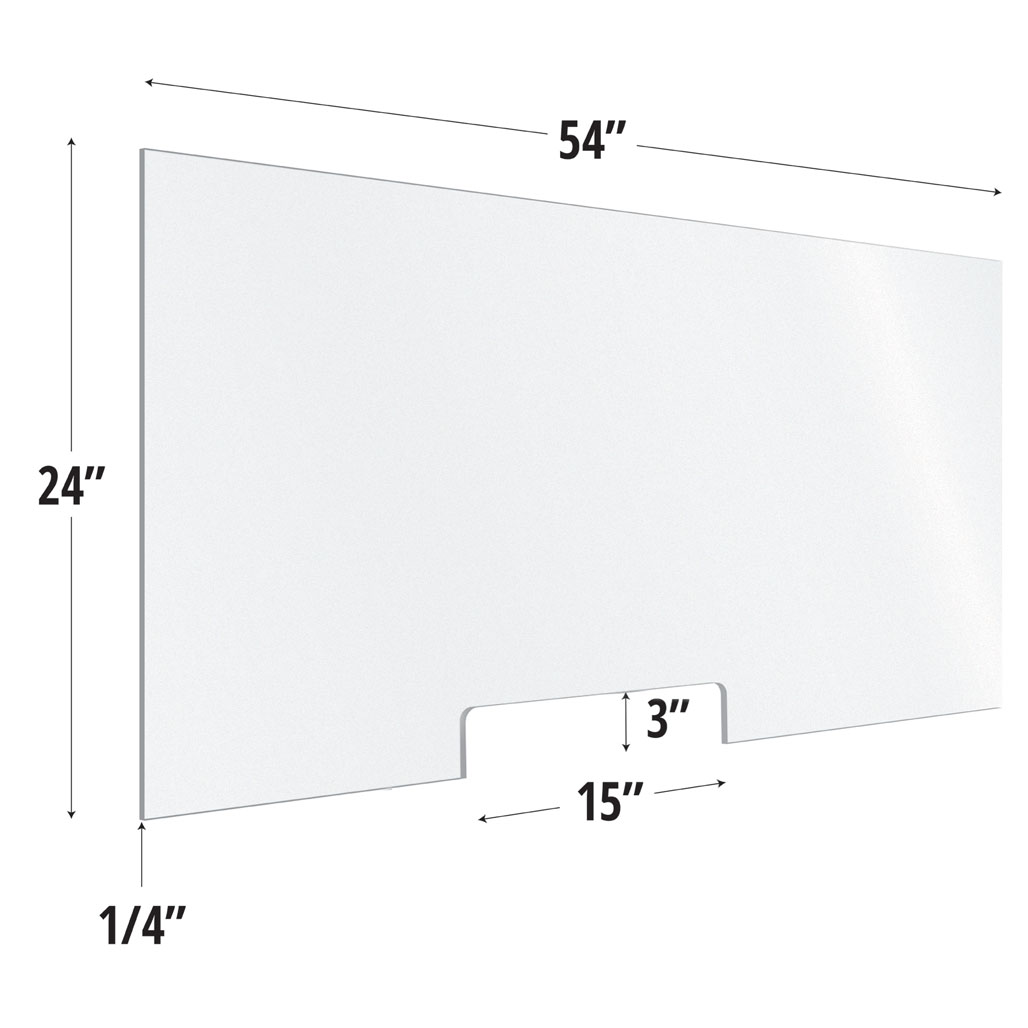 Frosted Acrylic Screen with Transaction Cutout – 54″W x 24″H