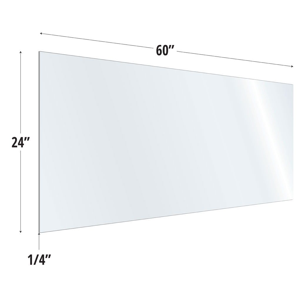 OfficeSource SafeGuard Barrier Collection Clear Acrylic Screen with Square Edges – 60″W x 24″H
