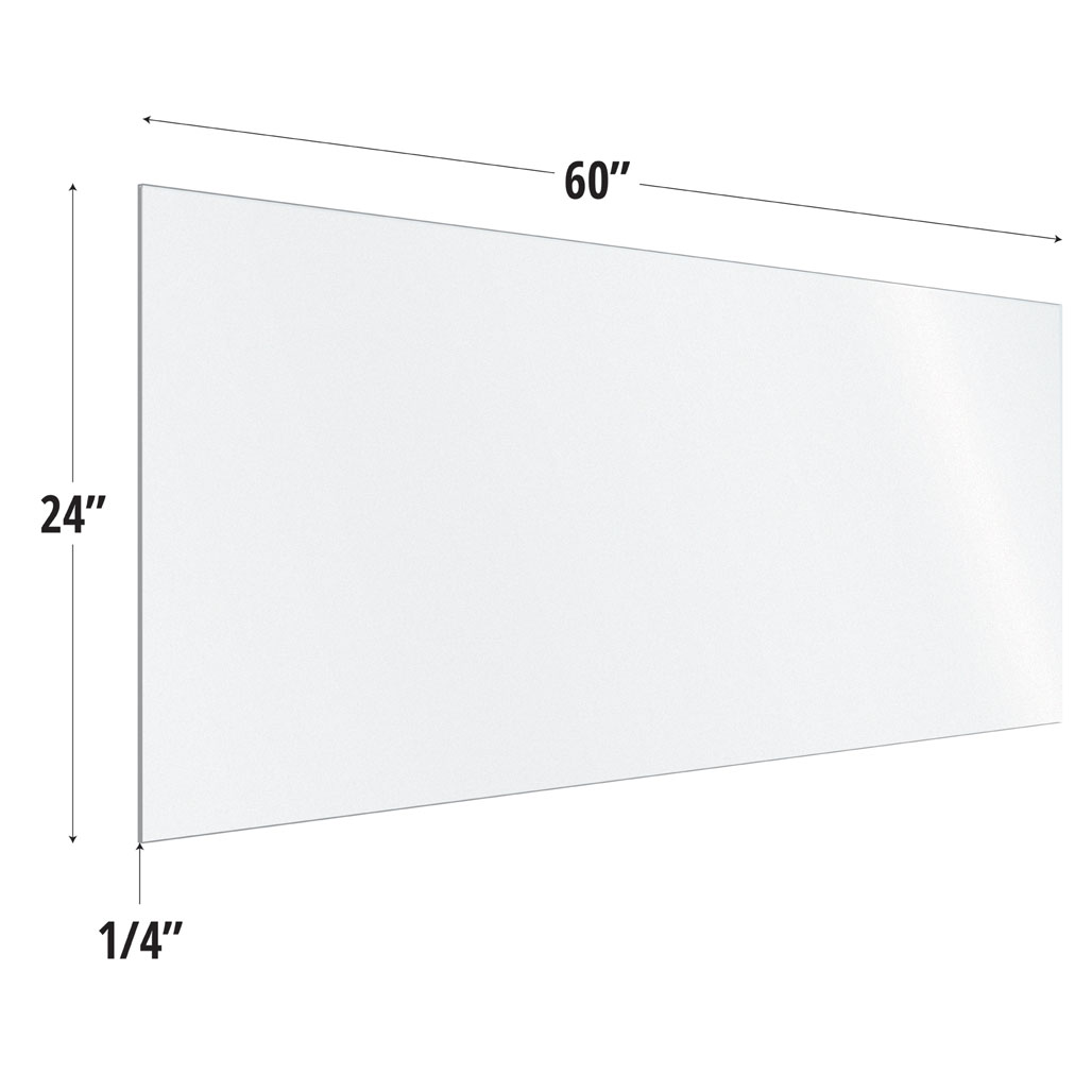 Frosted Acrylic Screen with Square Edges – 60″W x 24″H