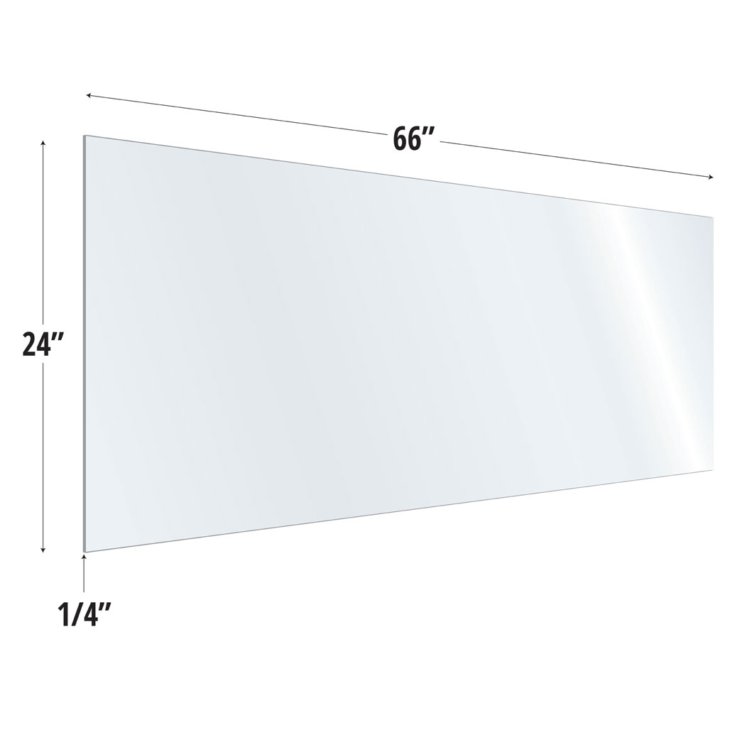 OfficeSource SafeGuard Barrier Collection Clear Acrylic Screen with Square Edges – 66″W x 24″H