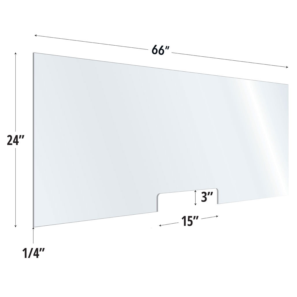 Clear Acrylic Screen with Transaction Cutout – 66″W x 24″H
