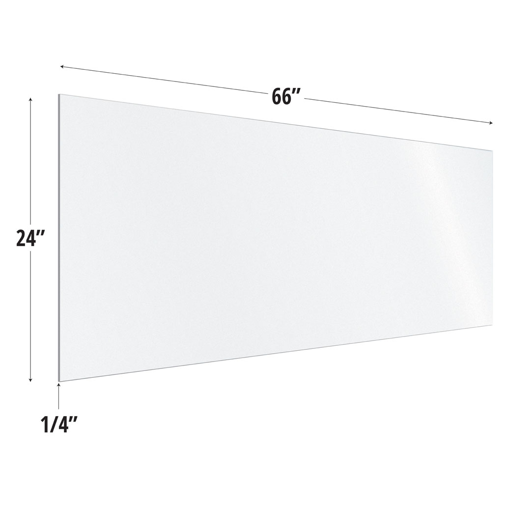 OfficeSource SafeGuard Barrier Collection Frosted Acrylic Screen with Square Edges – 66″W x 24″H
