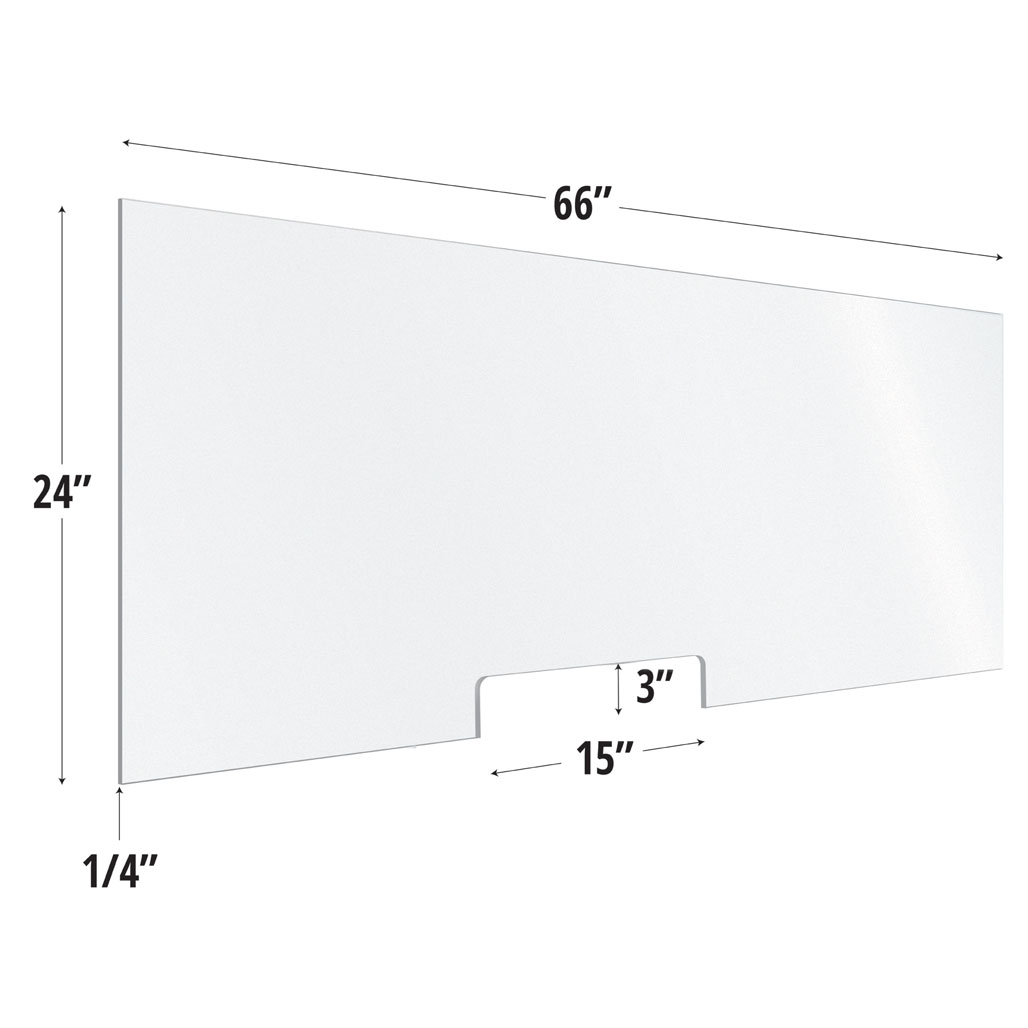 Frosted Acrylic Screen with Transaction Cutout – 66″W x 24″H