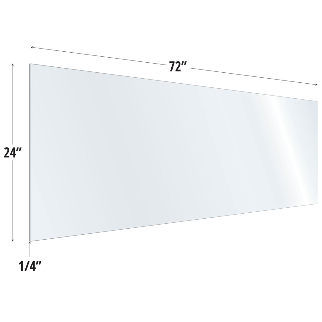 OfficeSource SafeGuard Barrier Collection Clear Acrylic Screen with Square Edges – 72″W x 24″H