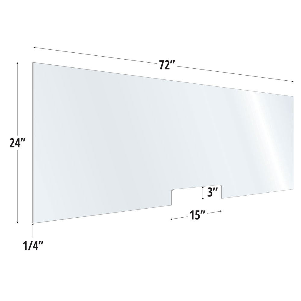 OfficeSource SafeGuard Barrier Collection Clear Acrylic Screen with Transaction Cutout – 72″W x 24″H