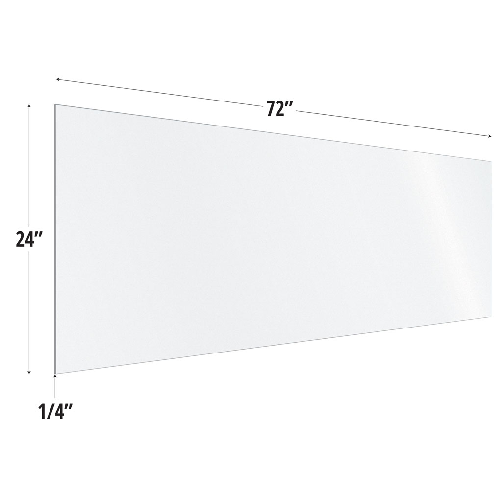 OfficeSource SafeGuard Barrier Collection Frosted Acrylic Screen with Square Edges – 72″W x 24″H