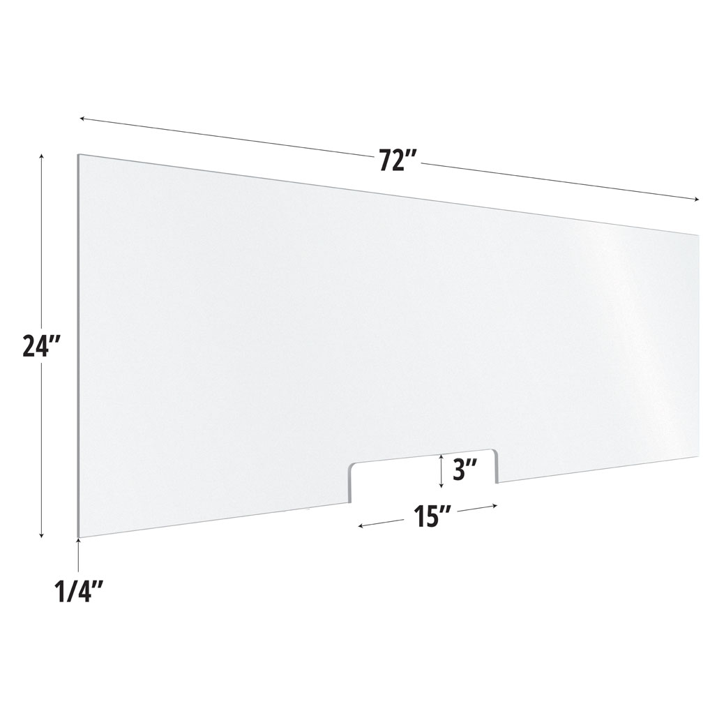 Frosted Acrylic Screen with Transaction Cutout – 72″W x 24″H