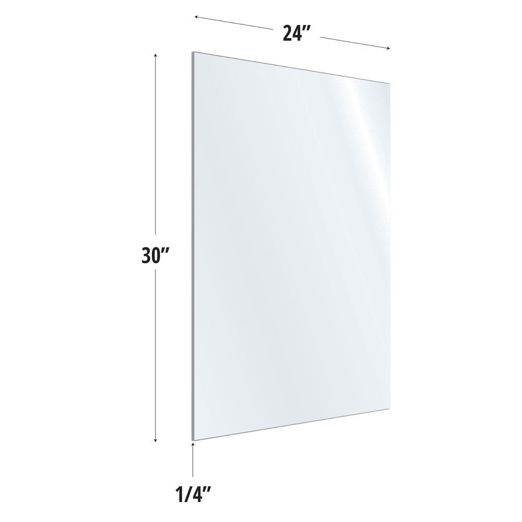 OfficeSource SafeGuard Barrier Collection Clear Acrylic Screen with Square Edges – 24″W x 30″H