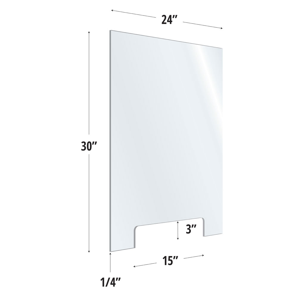 Clear Acrylic Screen with Transaction Cutout – 24″W x 30″H