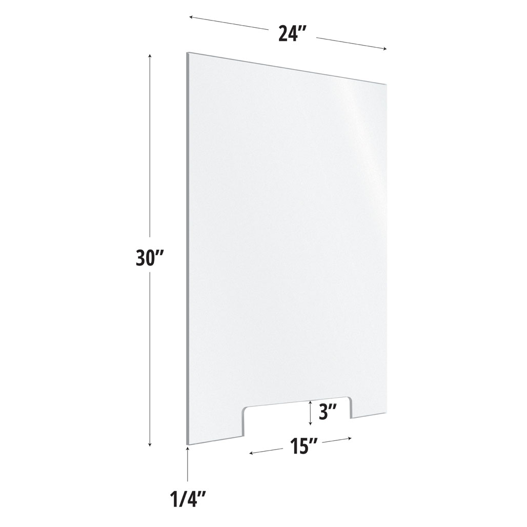 Frosted Acrylic Screen with Transaction Cutout – 24″W x 30″H