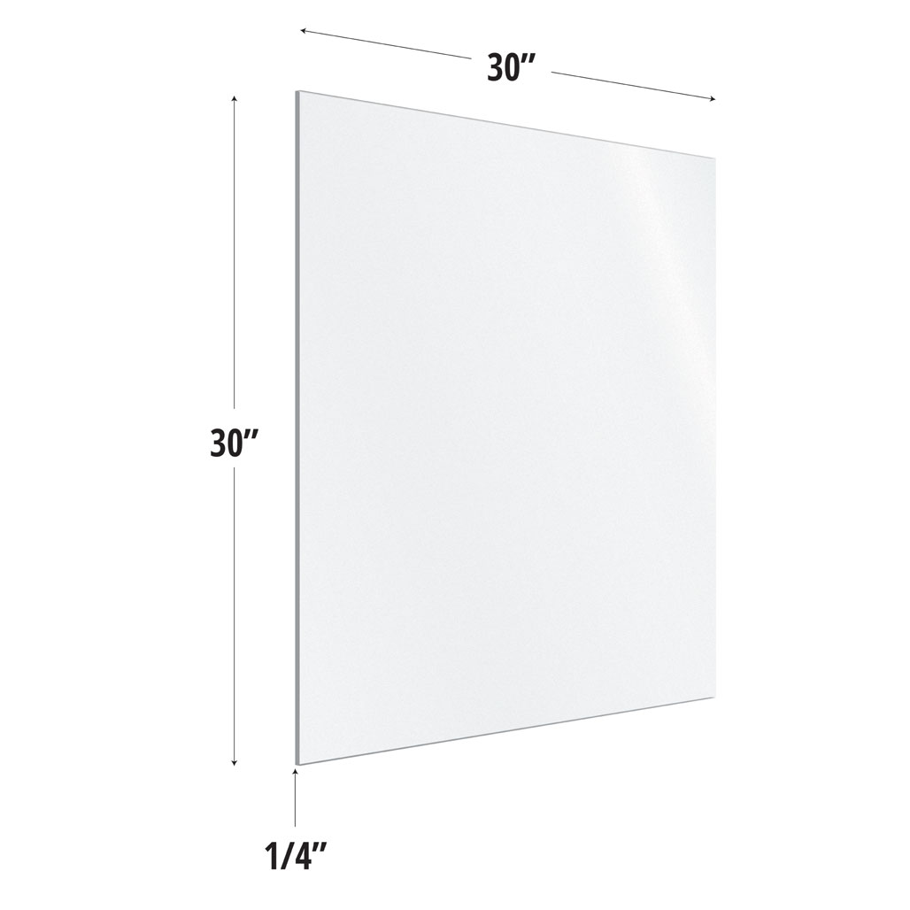 Frosted Acrylic Screen with Square Edges – 30″W x 30″H