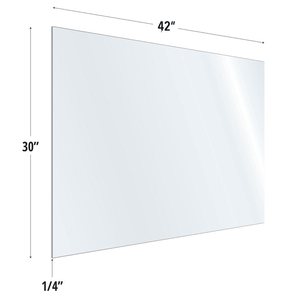 OfficeSource SafeGuard Barrier Collection Clear Acrylic Screen with Square Edges – 42″W x 30″H