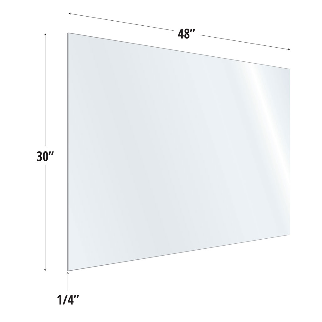 OfficeSource SafeGuard Barrier Collection Clear Acrylic Screen with Square Edges – 48″W x 30″H