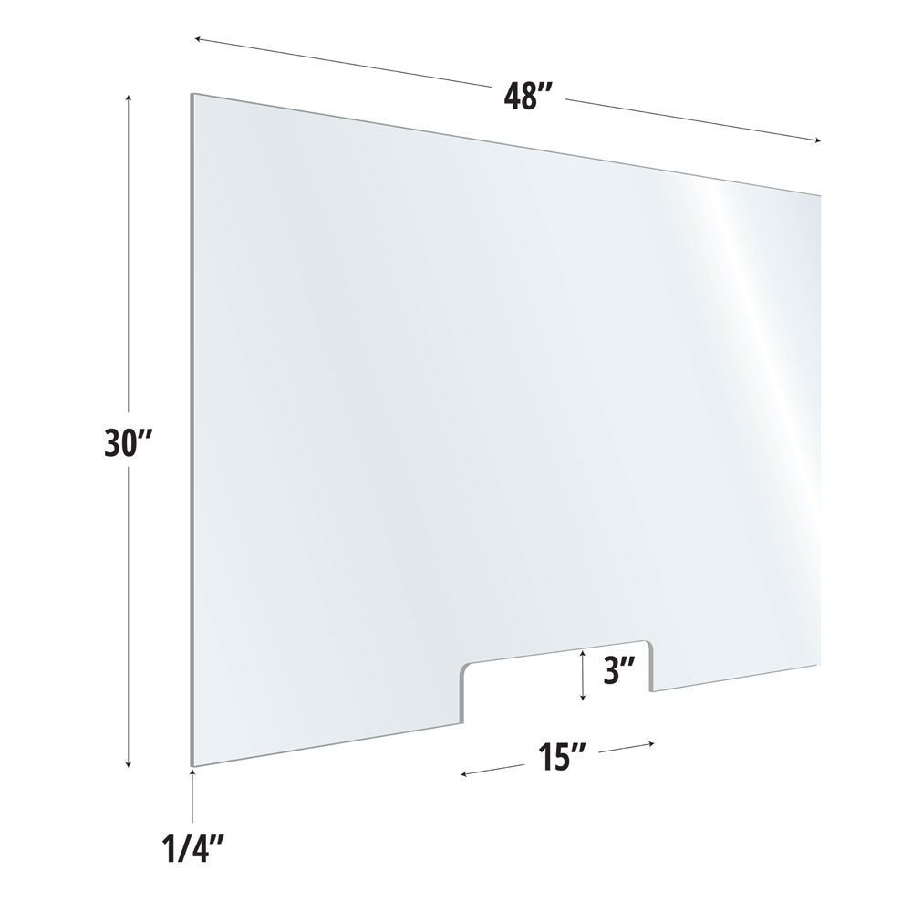 Clear Acrylic Screen with Transaction Cutout – 48″W x 30″H