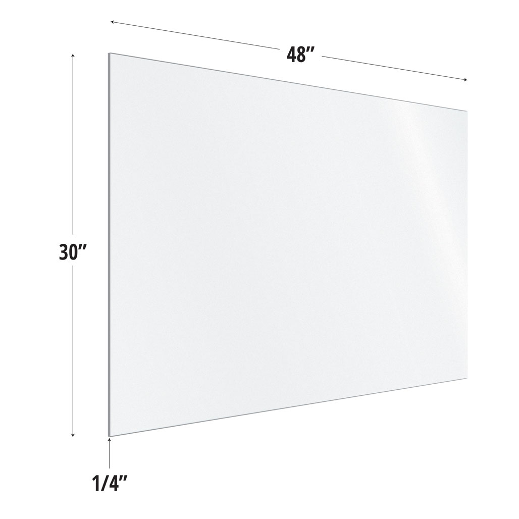 Frosted Acrylic Screen with Square Edges – 48″W x 30″H