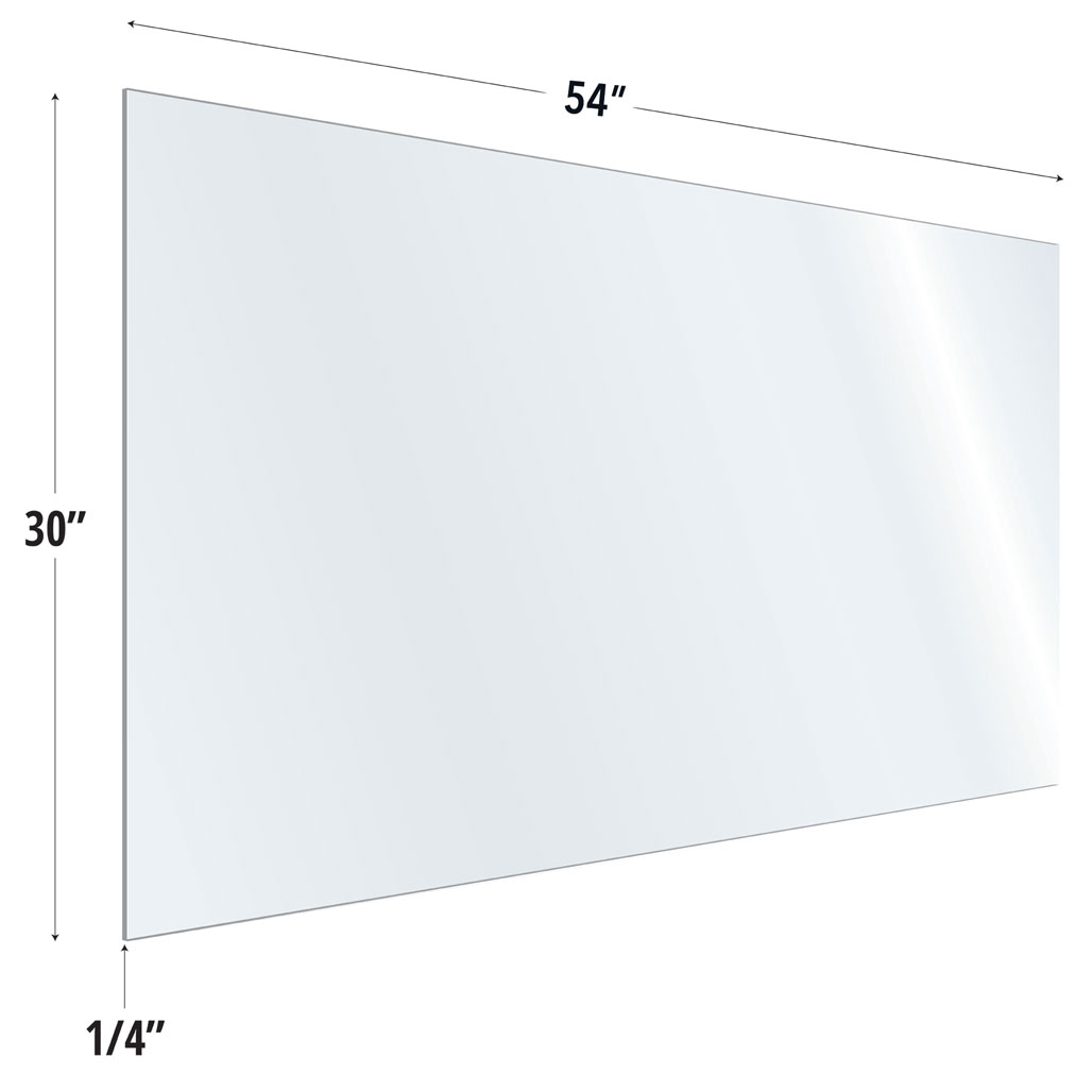 OfficeSource SafeGuard Barrier Collection Clear Acrylic Screen with Square Edges – 54″W x 30″H
