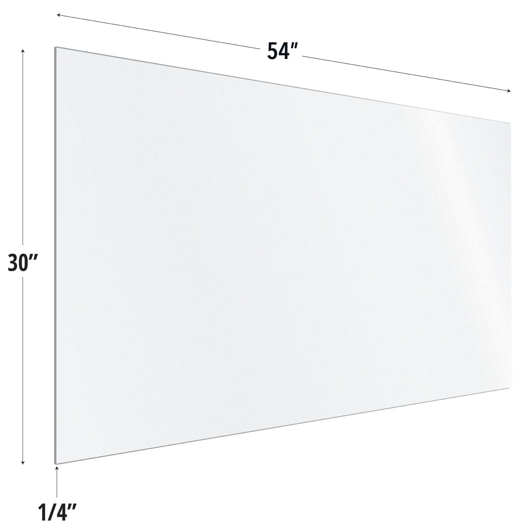 Frosted Acrylic Screen with Square Edges – 54″W x 30″H