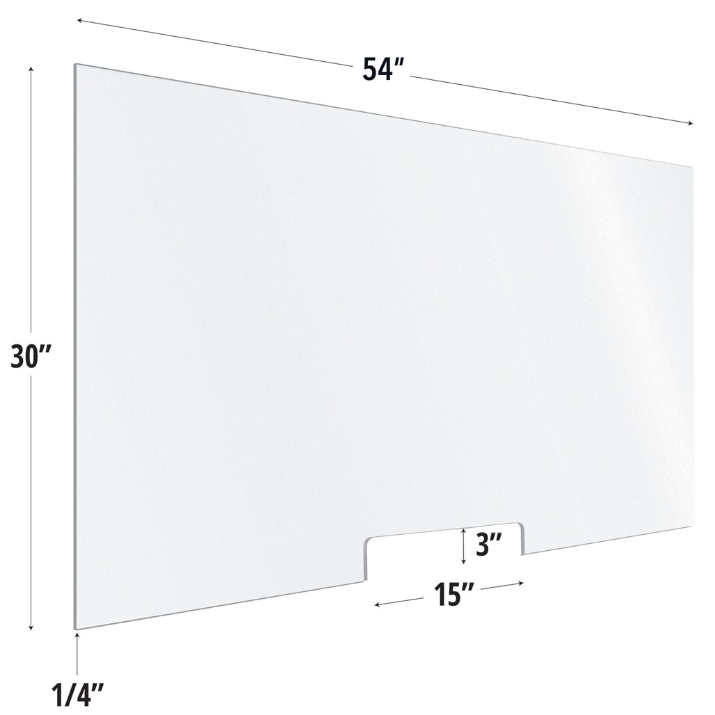 Frosted Acrylic Screen with Transaction Cutout – 54″W x 30″H