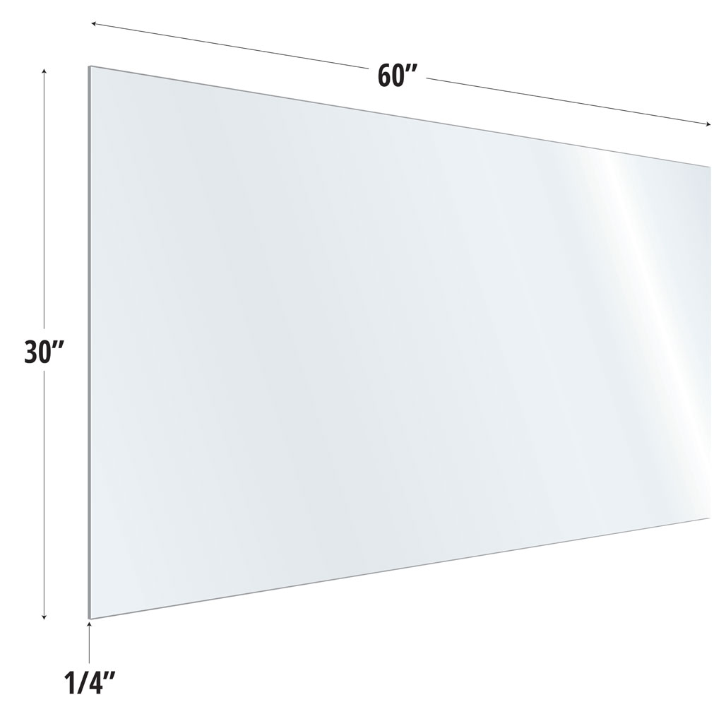 OfficeSource SafeGuard Barrier Collection Clear Acrylic Screen with Square Edges – 60″W x 30″H