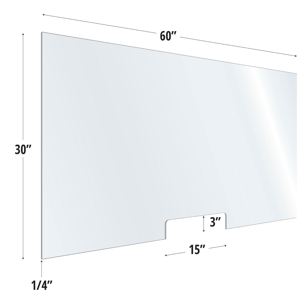 Clear Acrylic Screen with Transaction Cutout – 60″W x 30″H