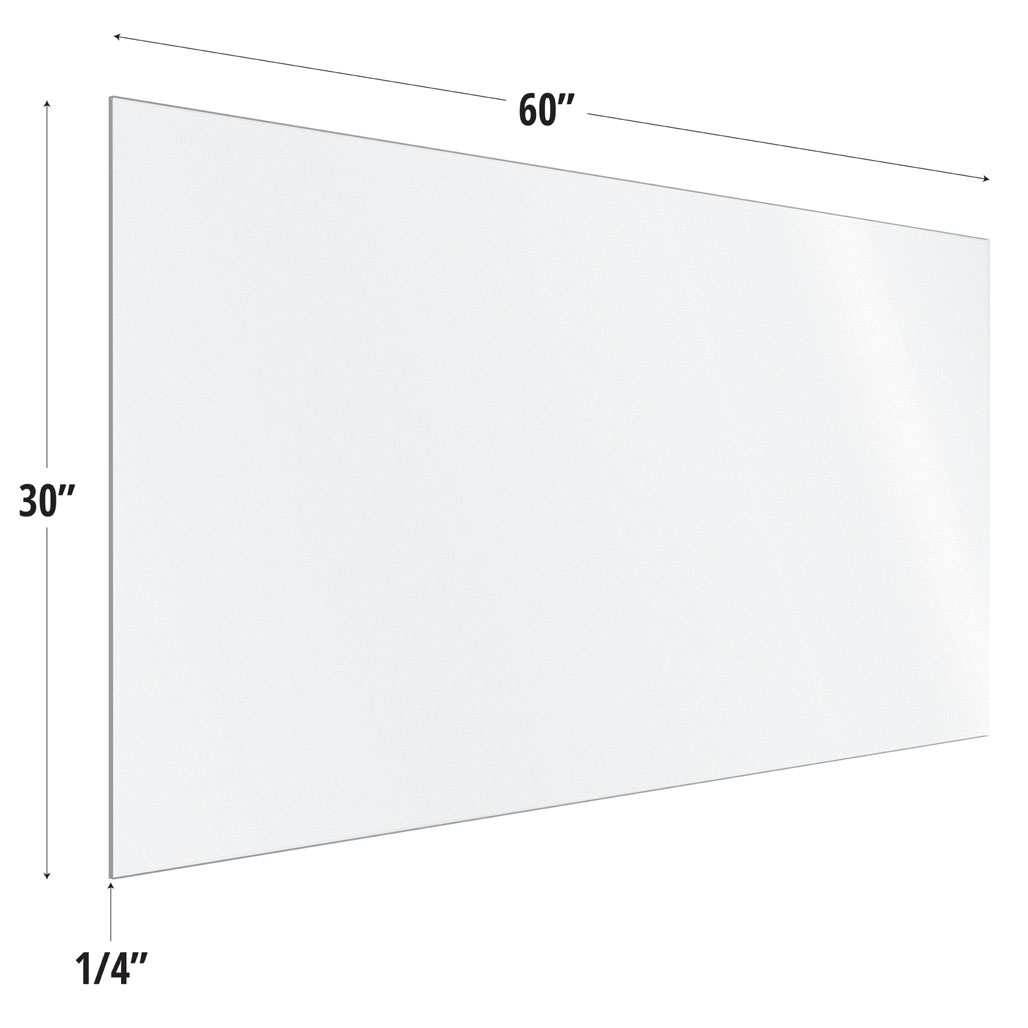 OfficeSource SafeGuard Barrier Collection Frosted Acrylic Screen with Square Edges – 60″W x 30″H