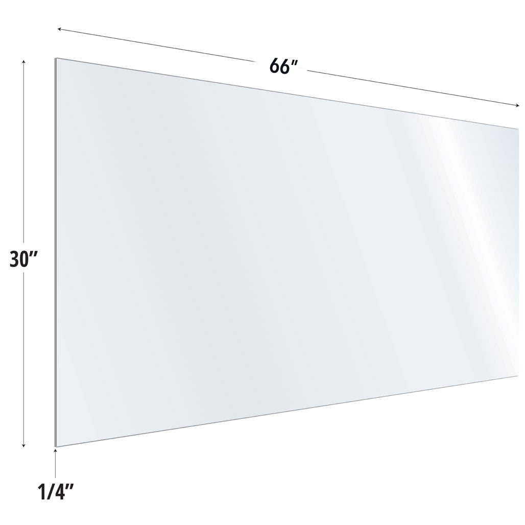 OfficeSource SafeGuard Barrier Collection Clear Acrylic Screen with Square Edges – 66″W x 30″H