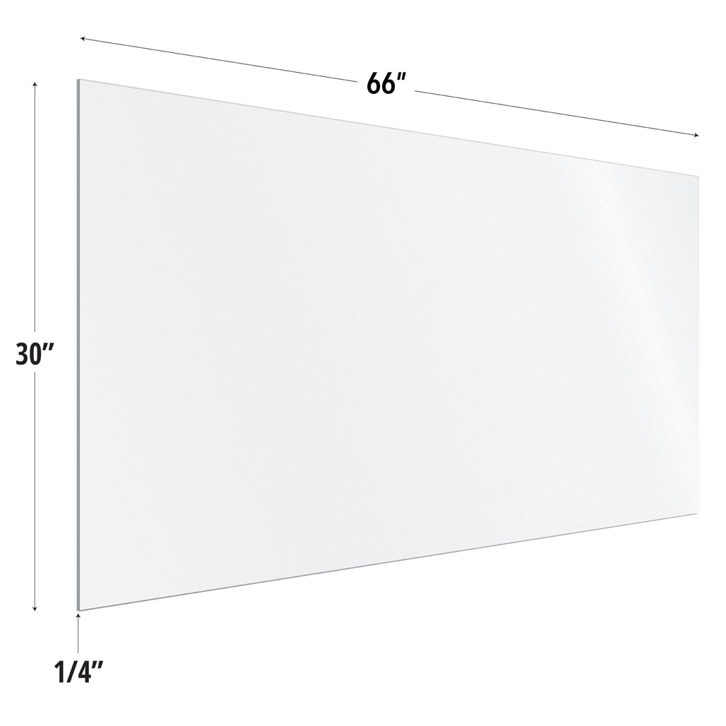 Frosted Acrylic Screen with Square Edges – 66″W x 30″H