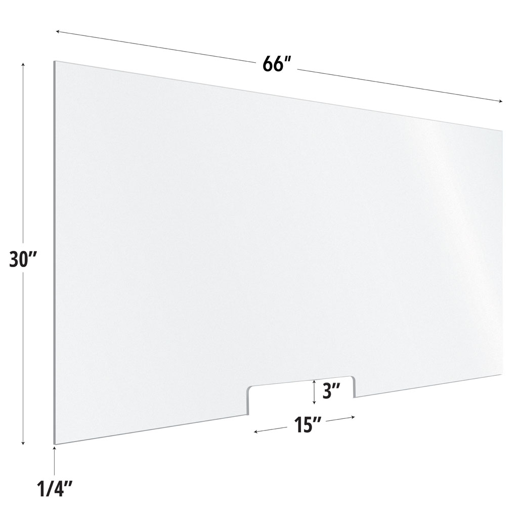 Frosted Acrylic Screen with Transaction Cutout – 66″W x 30″H